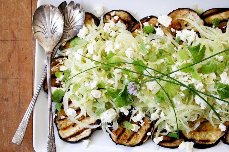 Grilled Eggplant Salad with Fennel Feta & Mint   Nicki SizemoreNicki ...